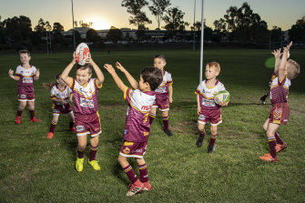 Oliver Jackson of the Glenmore Park Brumbies celebrates a try at training.