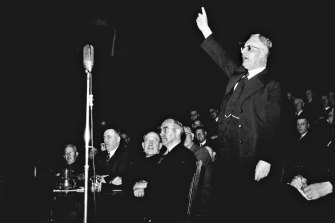 John Curtin's speaks at a rally on October 12, 1942. Audio tapes of his speeches are under threat.