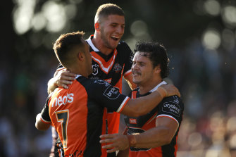 James Roberts, right, was another new recruit popular among the Tigers faithful at Leichhardt Oval.