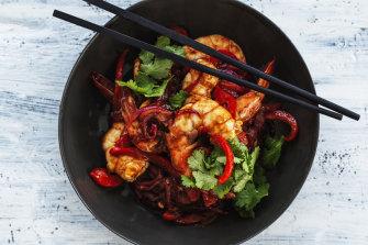Spicy tamarind prawns.