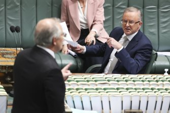 Prime Minister Scott Morrison and Opposition Leader Anthony Albanese  during question time.