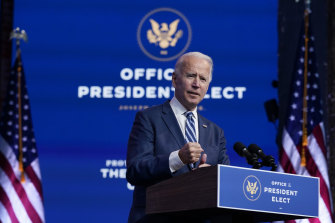 Joe Biden says the presidential transition is proceeding smoothly, despite Donald Trump's refusal to acknowledge defeat.