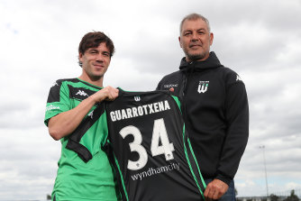 New Western signing Iker Guarrotxena with coach Mark Rudan.