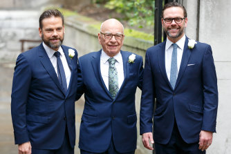Rupert Murdoch before his wedding to Jerry Hall in 2016 with sons Lachlan (left) and James.