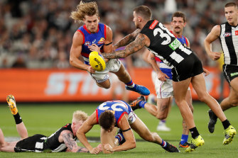 Bailey Smith was a standout for the Bulldogs in their win over Collingwood on Friday night.