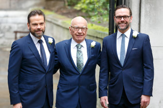 Rupert Murdoch, flanked by his two sons, Lachlan, left and James, in 2005.