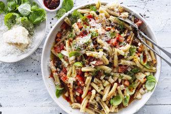 Strozzapreti with fennel, tomato  and olive vinaigrette.