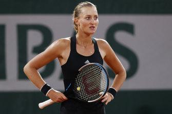 Not happy: France's Kristina Mladenovic.