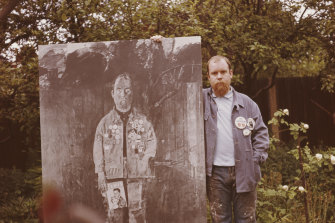 Sgt Pepper cover designer Peter Blake with his <i>Self Portrait with Badges</i> in 1963.