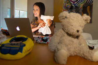 Elana uses Skype to deliver her instructional tutorials on cloth nappies.