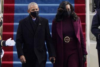Barack and Michelle Obama at Joe Biden's inauguration.