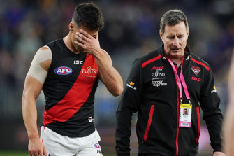 Essendon coach John Worsfold with Dylan Shiel during the elimination final loss to West Coast.
