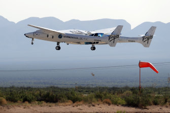 Richard Branson and his crew take off in New Mexico.