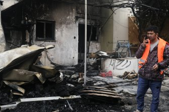 The burnt out refugee centre on the island of Lesbos, Greece.