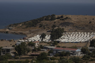 A general view of the new temporary camp for refugees and migrants near Mytilene, on Lesbos.