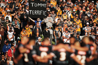 The entire Wests Tigers squad were at the SCG for Tommy Raudonikis' public memorial.