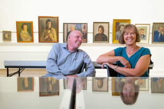 Reflecting on the past: children of painter Judith Perrey, Jenny McAllister and her brother Peter.