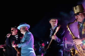 The band Madness performs on the rooftop of Buckingham Palace during the Queen's Diamond Jubilee in 2012.