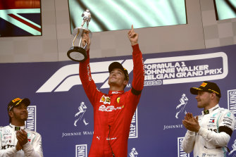 Ferrari driver Charles Leclerc after winning the Belgian Formula One Grand Prix in Spa-Francorchamps in Belgium on Sunday.