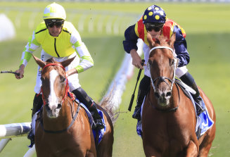Eduardo (left) gets the better of Nature Strip in last month's Challenge Stakes