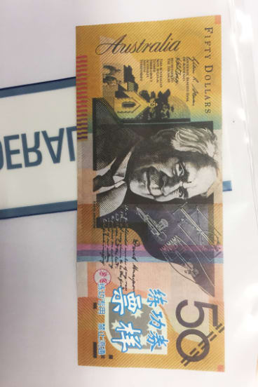 A fake $50 note that was used in the ACT.