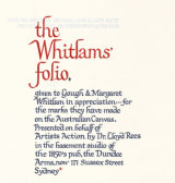 The dedication on the Whitlam folio, 16 artworks by Australian artists gifted to the Whitlams.