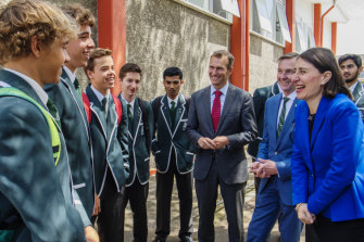 Premier Gladys Berejiklian and then education minister Rob Stokes at Randwick Boys' High last year.