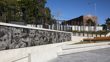 An artists' mural in the sunken public square next to the new Marrickville Library.