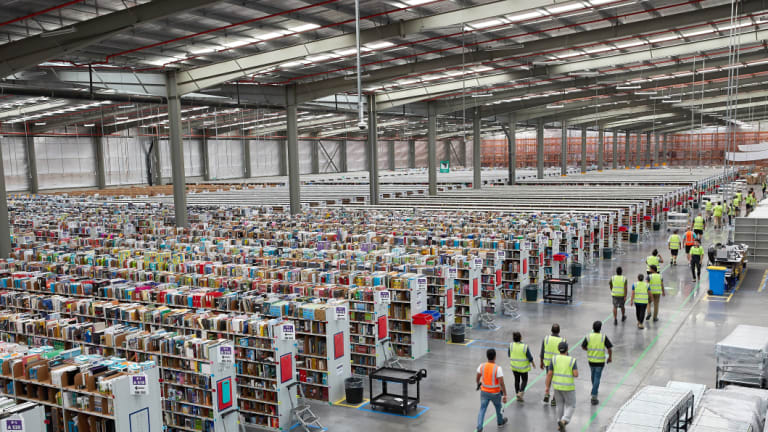 The inside of Amazon's fulfillment centre in Dandenong South, in Melbourne's outer east.