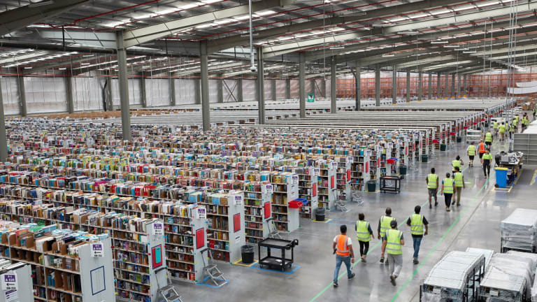 The inside of Amazon's fulfillment centre in Dandenong South.