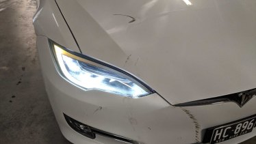Evoke founder Pia Peterson says an oBike caused this damage to one of her Teslas.