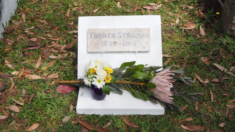 The marble headstone for the grave of Forbes Strachan was finally placed in its proper place in Toowong Cemetery on Saturday.