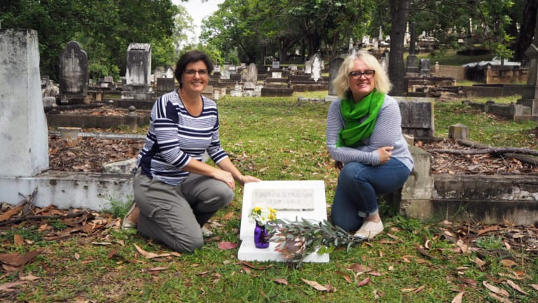 Ms Jeffrey (left) and Ms Kudeborg at the cemetery on Saturday.