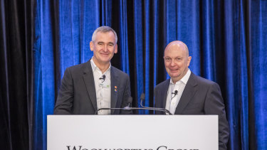Woolworths chief executive Brad Banducci and chairman Gordon Cairns.