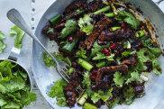 AdamLiaw's stir-fried lamb with coriander and Sichuan pepper.