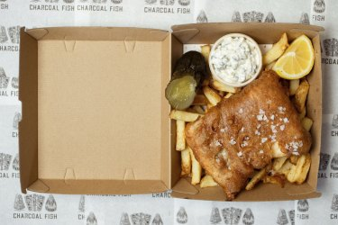Fish and chips served at Josh Niland's new Charcoal Fish takeaway in Rosebay, Sydney on September 16, 2021. Photo: Dominic Lorrimer