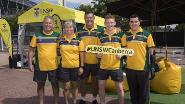 UNSW Canberra graduates and 2018 Invictus Games competitors Rob Saunders, Nicki Bradley, Ben Farinazzo, Jesse Costelloe and Nathan Parker in Sydney.