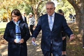 Prime Minister Scott Morrison with NSW Premier Gladys Berejiklian in Sydney on Monday.
