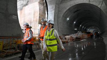 NSW Premier Gladys Berejiklian inspects the Martin Place Metro Station.