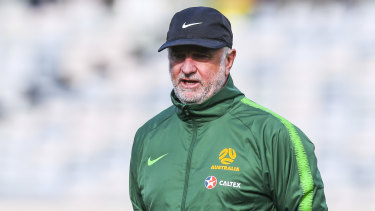 Socceroos coach Graham Arnold in Canberra on Wednesday.