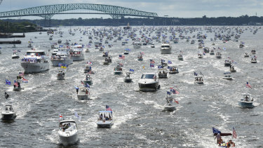 Hundreds of boats on the St Johns River during a rally for President Trump's birthday on Sunday.