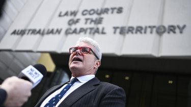 David McBride outside court in the ACT, where he will be tried.