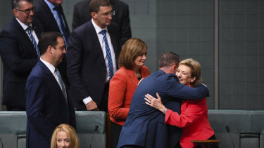 Former Liberal MP Jane Prentice is congratulated after her final speech in Parliament this year.