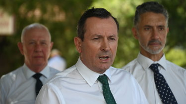 WA Premier Mark McGowan at Armadale on Thursday.