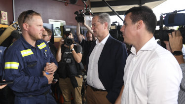 Labor leader Bill Shorten speaks to workers during a visit to Gladstone Ports on Tuesday.