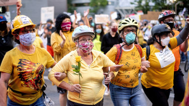The so-called 'Wall of Mums' has been a prominent part of the protests in Portland, Oregon.