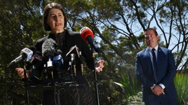 Premier Gladys Berejiklian, Treasurer Dominic Perrottet and acting Nats leader Paul Toole.