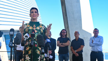 Actor Kate Walsh speaks at the Labor Party announcement for a $100 million pledge to build a film studio in Fremantle alongside composer Tim Minchin, director Ben Elton, and WA Premier Mark McGowan.