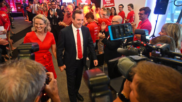 Sarah and Mark McGowan with the Labor faithful at the Premier's campaign launch at RAC Arena.
