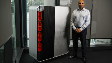 Professor Francois Aguey-Zinsou with a LAVO hydrogen battery.